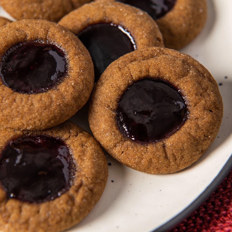 Blackberry Rum Gingerbread Thumbprint