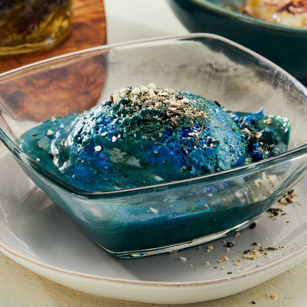 Underwater under discovered spirulina ice cream with sweet furikake
