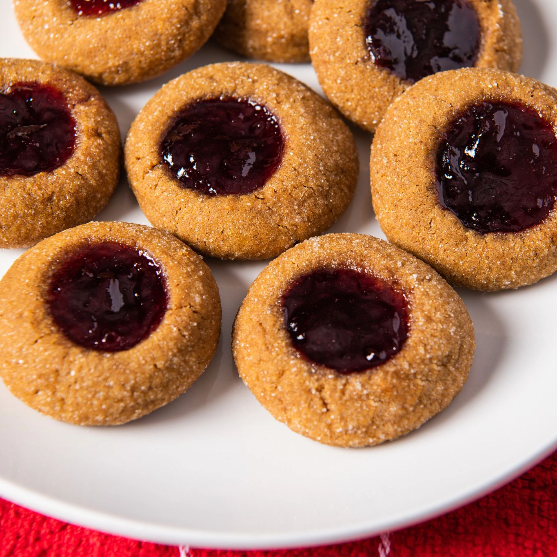 Cherry Almond Gingerbread Thumbprint Cookies