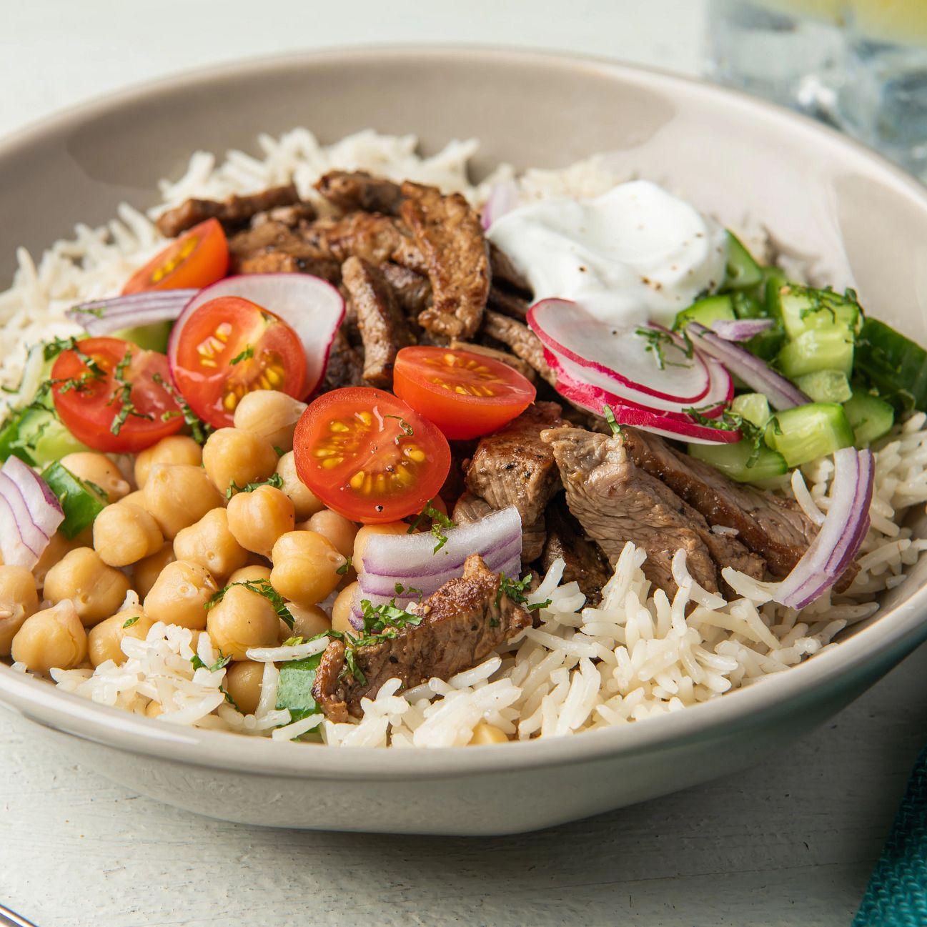 shawarma steak and basmati rice bowl