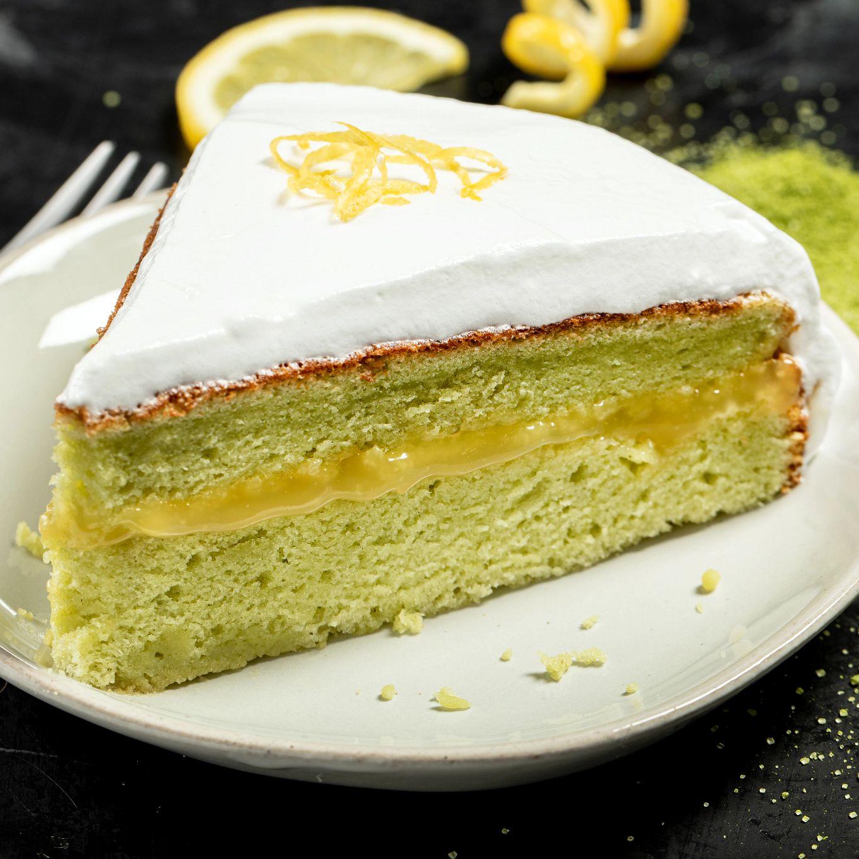 Matcha Cake with Lemon Meringue