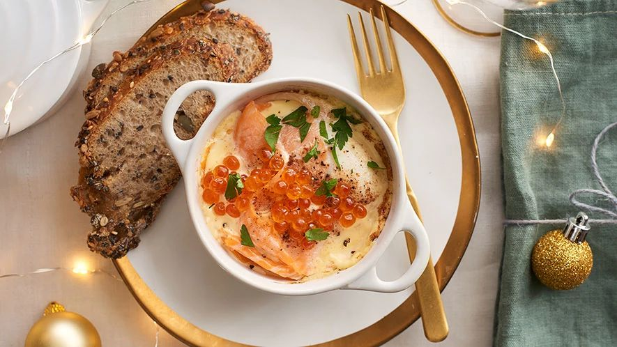 Baked Eggs with Nutmeg and Smoked Salmon
