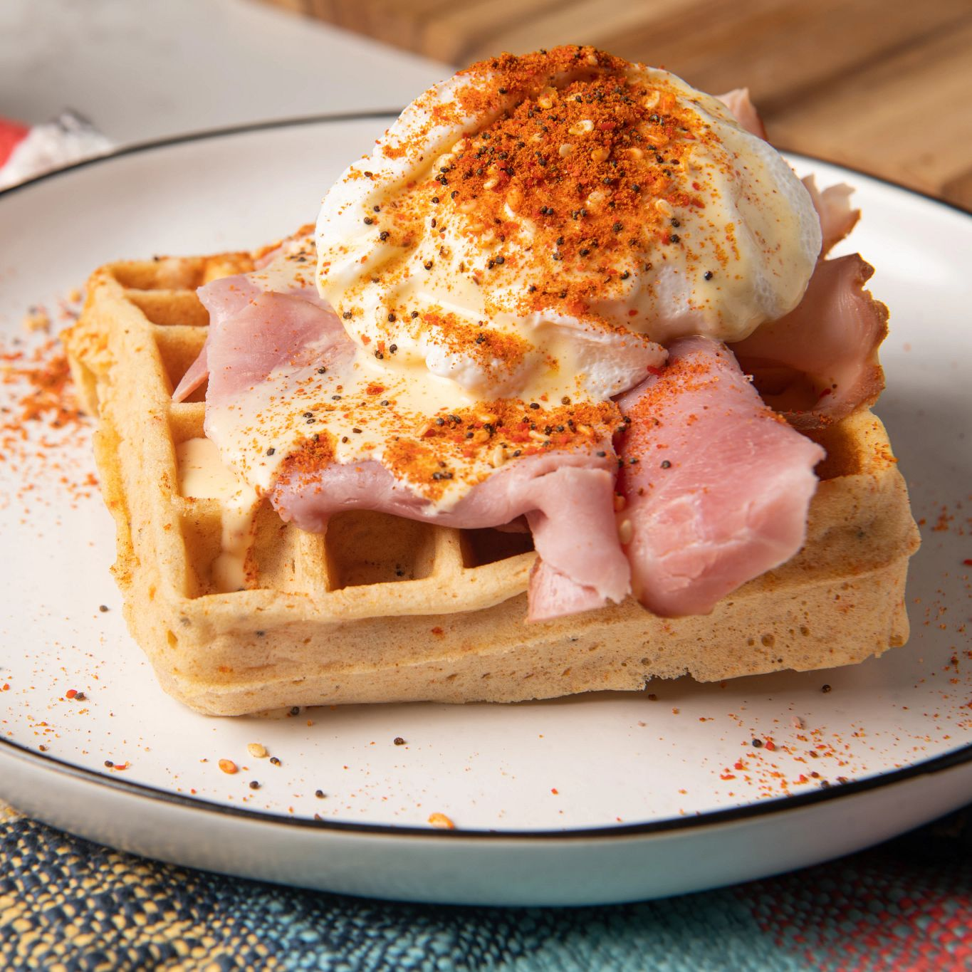 Easy Eggs Benedict with Savory Waffles