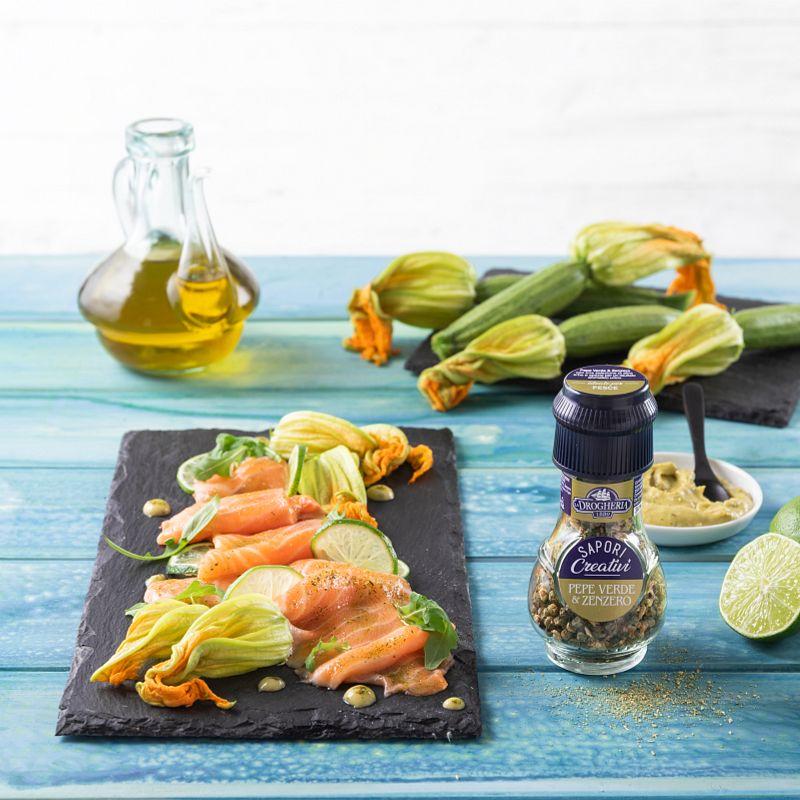 Carpaccio di salmone al lime con Pepe Verde & Zenzero