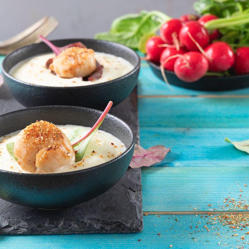 Capesante su crema di patate con Pepe Rosa & Limone
