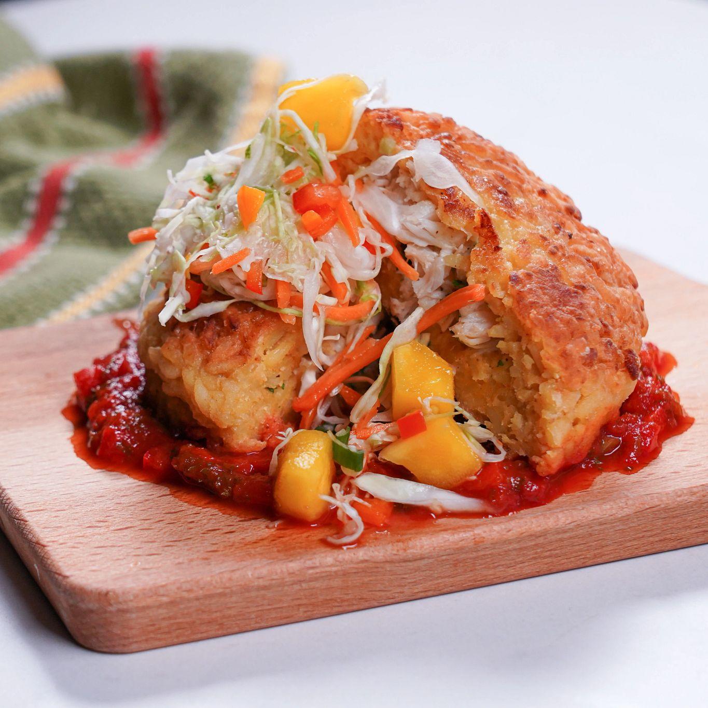 Crab Stuffed Yellow Rice Cakes with Mango Pikliz