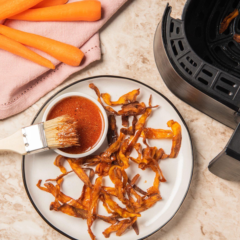 air fryer vegan carrot bacon
