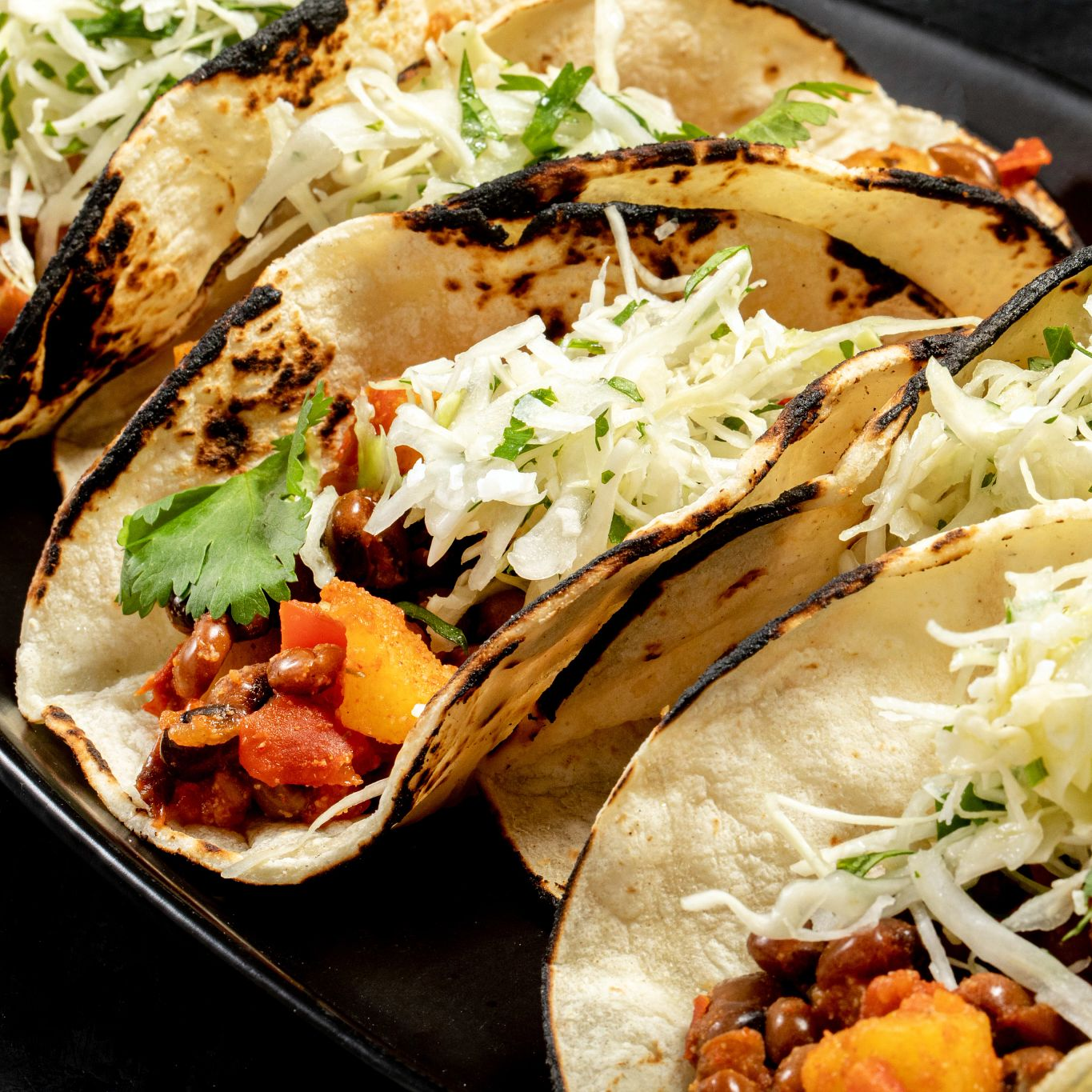 Pigeon Pea Tacos al Pastor with Coconut Lime Slaw