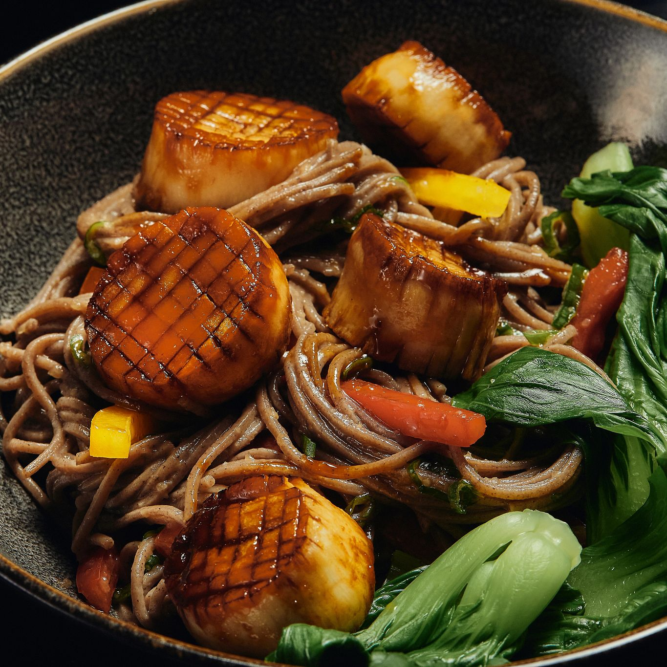 Plants Pushing Boundaries King Trumpet Scallops Soba Noodle Bowl