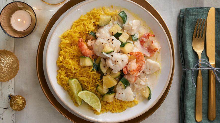 Roasted Monkfish with Turmeric Flavoured Rice