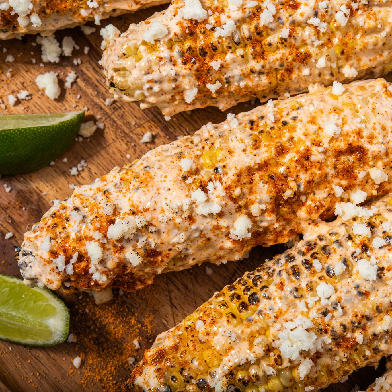 GRILLED MEXICAN-STYLE CORN ON THE COB WITH LIME MAYONNAISE